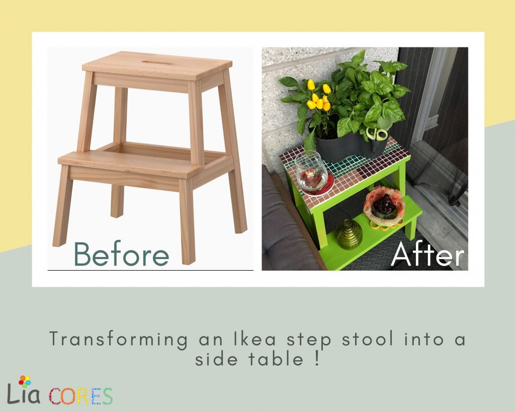 IkeaStepStool wMosaic 1 1024x819 - 5 EASY DIY Recycling Ideas