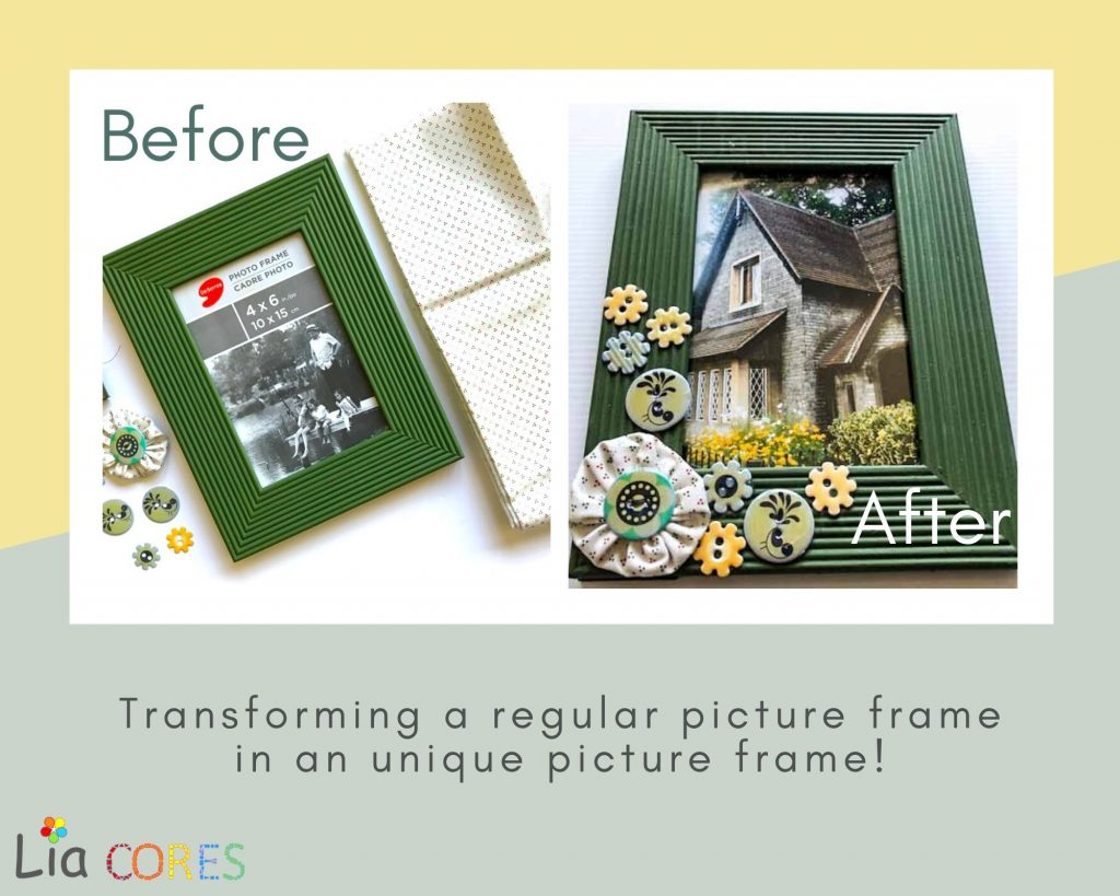 Picture Frame with Fuxico 1024x819 - 5 EASY DIY Recycling Ideas